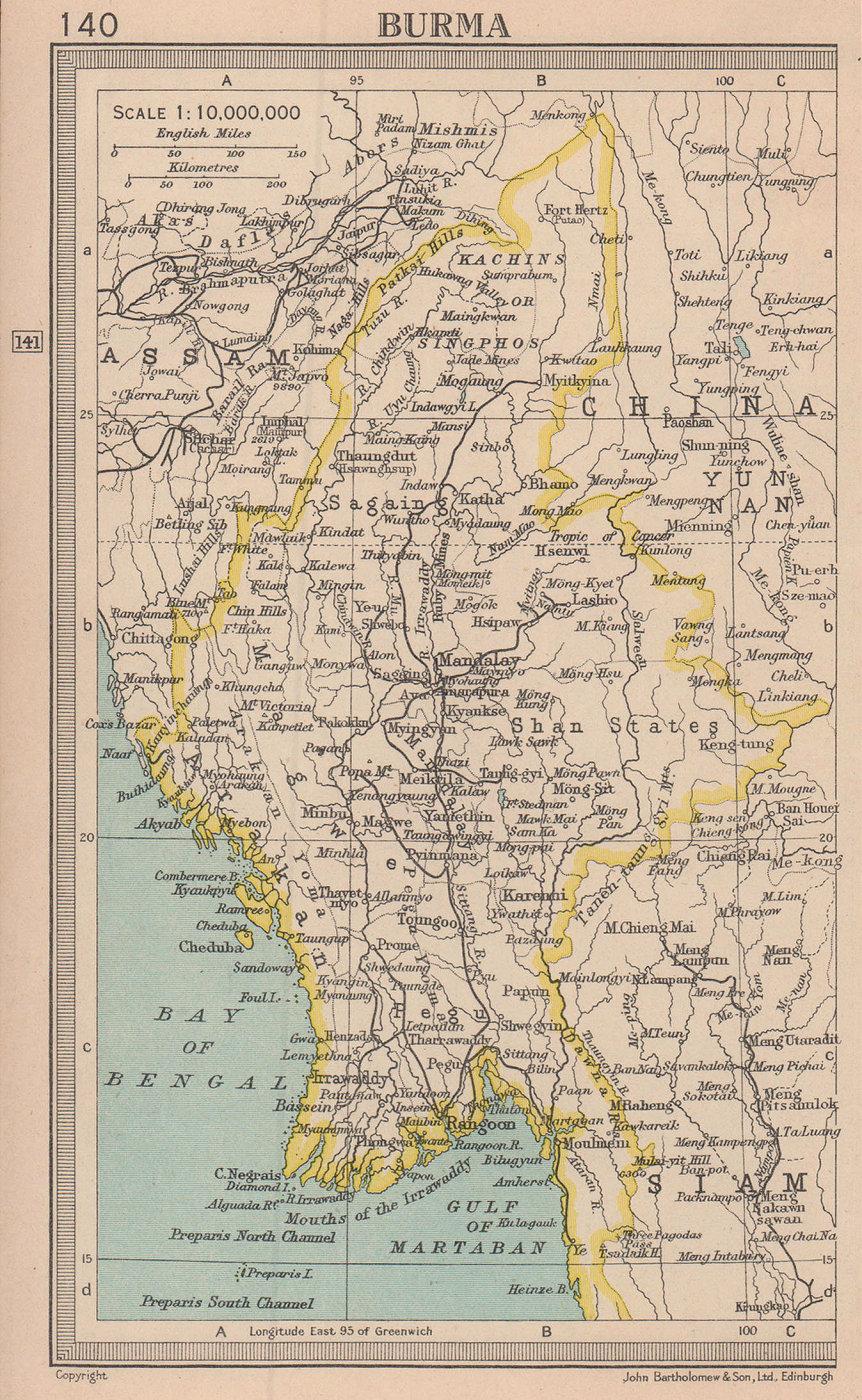 Burma. Myanmar. BARTHOLOMEW 1949 old vintage map plan chart