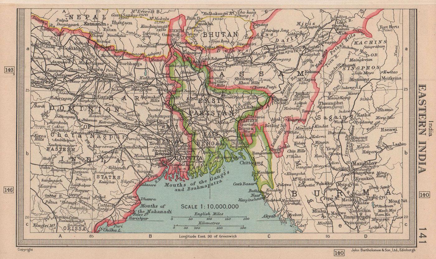 Eastern India. East Pakistan/Bangladesh. BARTHOLOMEW 1949 old vintage map