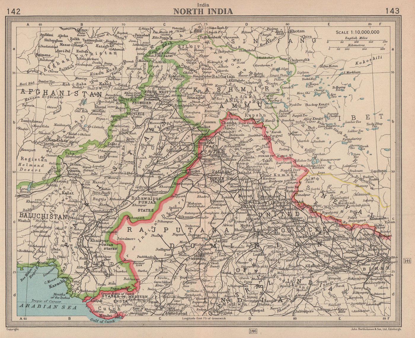 North India. Pakistan. Unresolved Jammu & Kashmir. BARTHOLOMEW 1949 old map