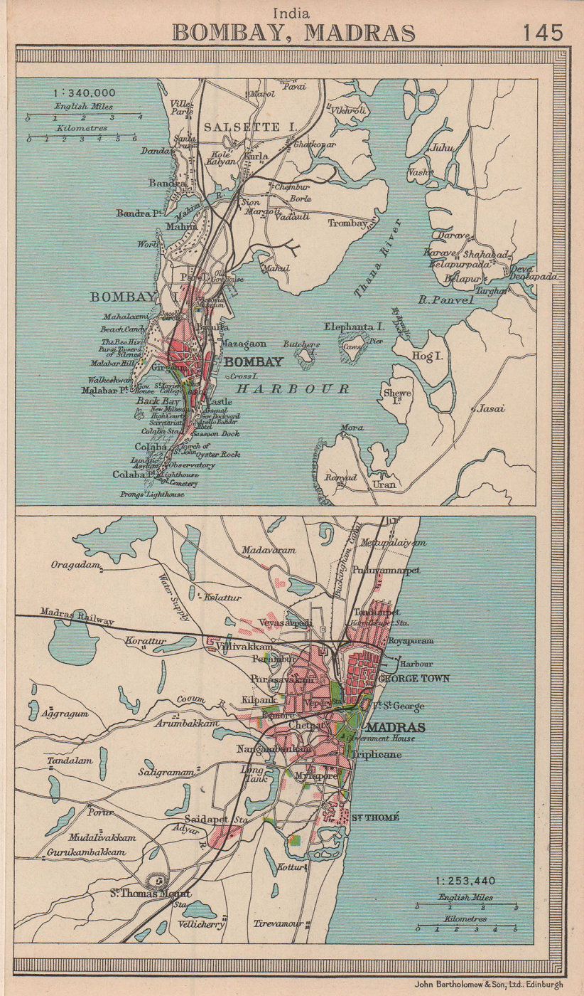 Indian cities. Bombay Mumbai & Madras. BARTHOLOMEW 1949 old vintage map chart