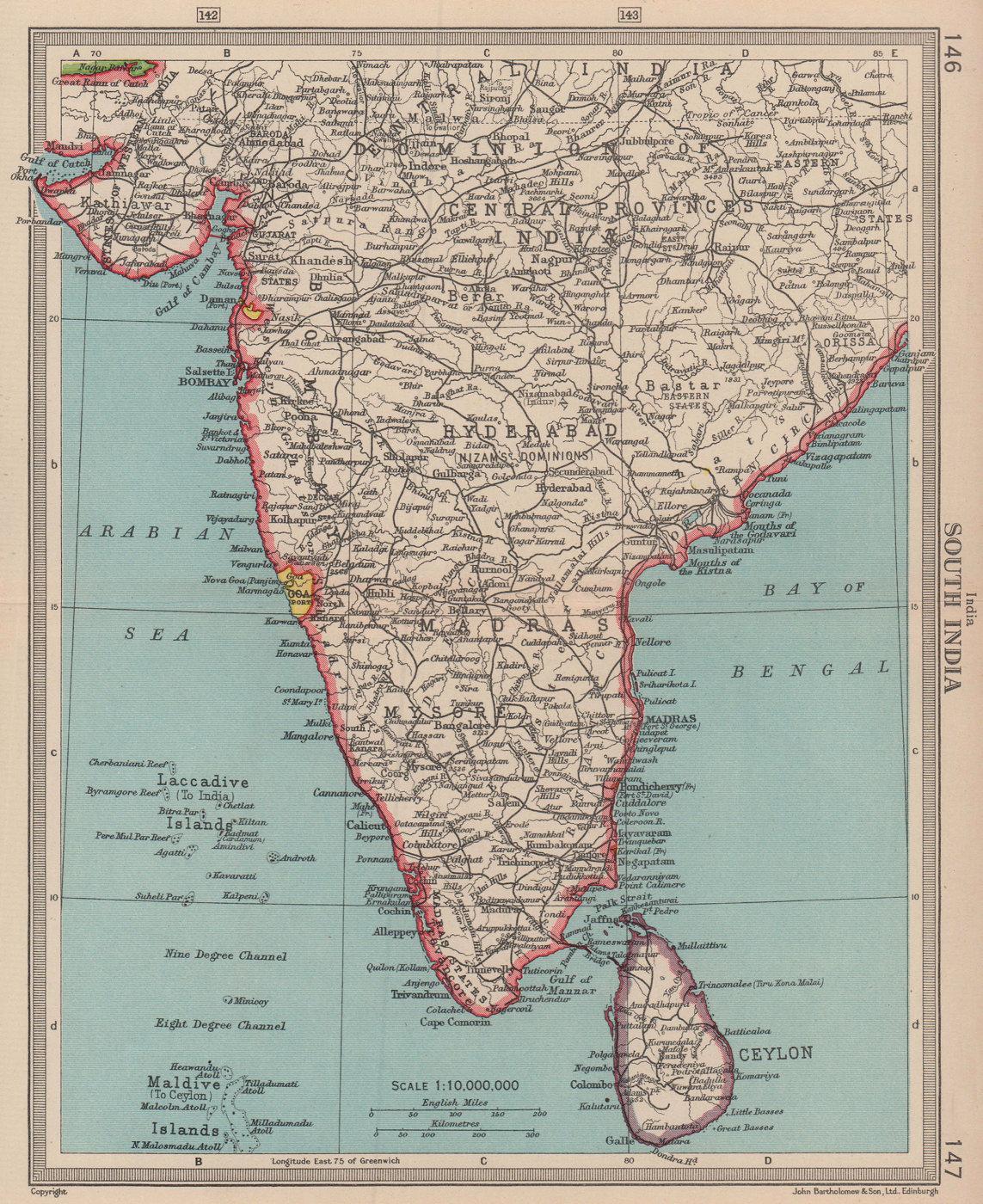 South India. Portuguese Goa & Daman. BARTHOLOMEW 1949 old vintage map chart