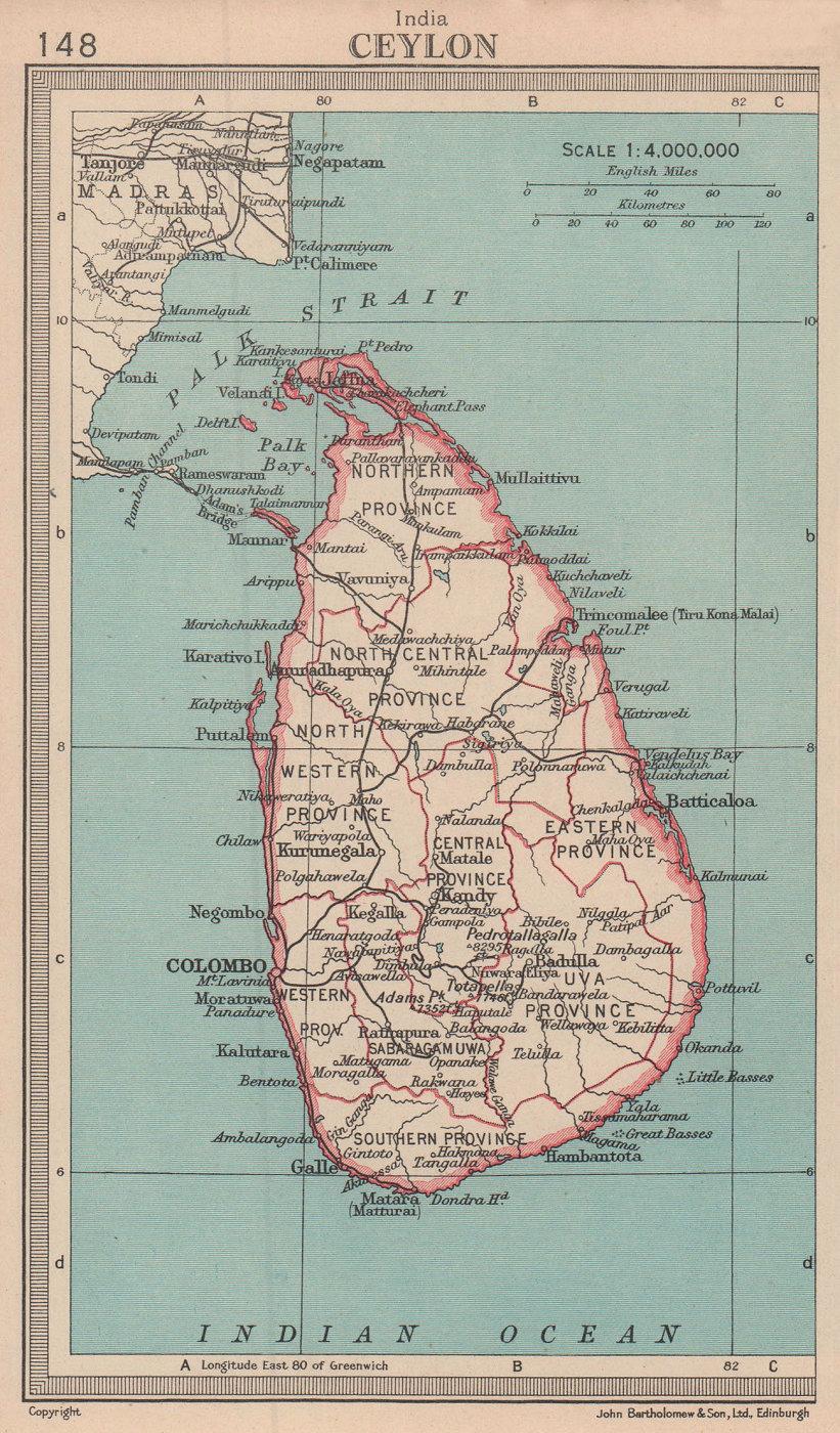 Sri Lanka. Ceylon. BARTHOLOMEW 1949 old vintage map plan chart