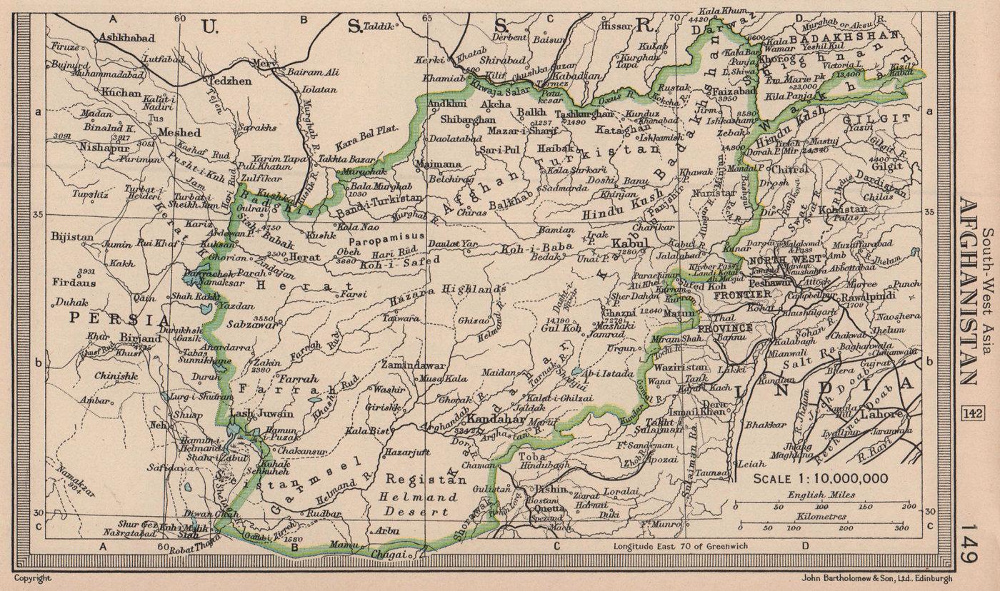 Afghanistan. BARTHOLOMEW 1949 old vintage map plan chart