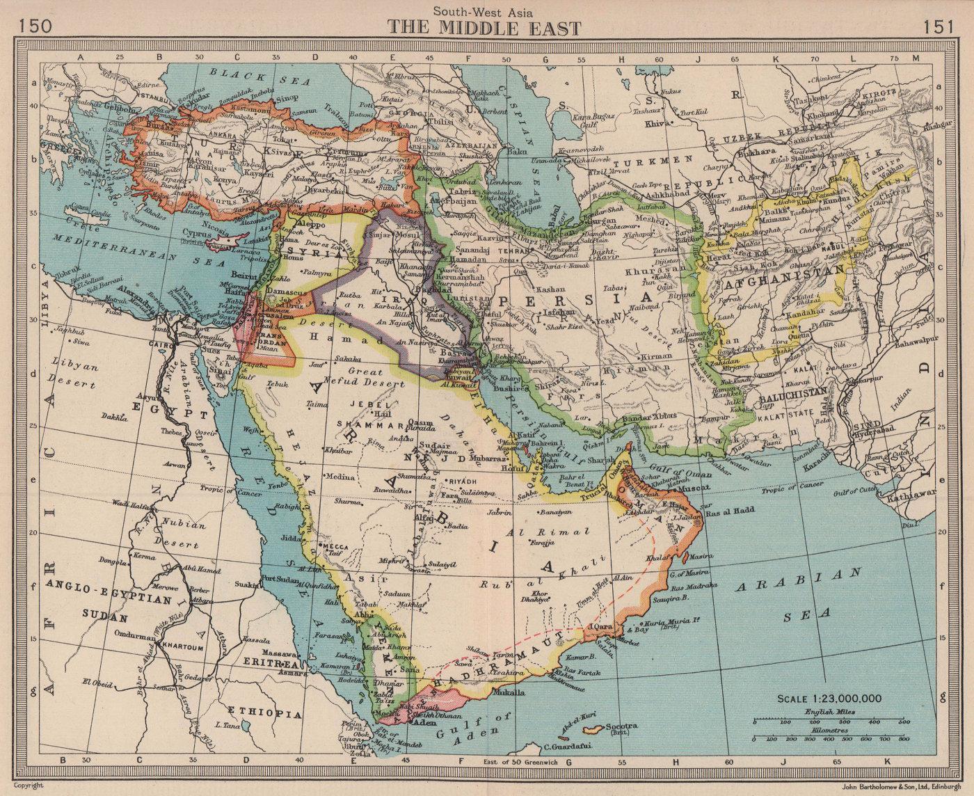Middle East. Trucial Oman / UAE Persia Aden Iraq. BARTHOLOMEW 1949 old map