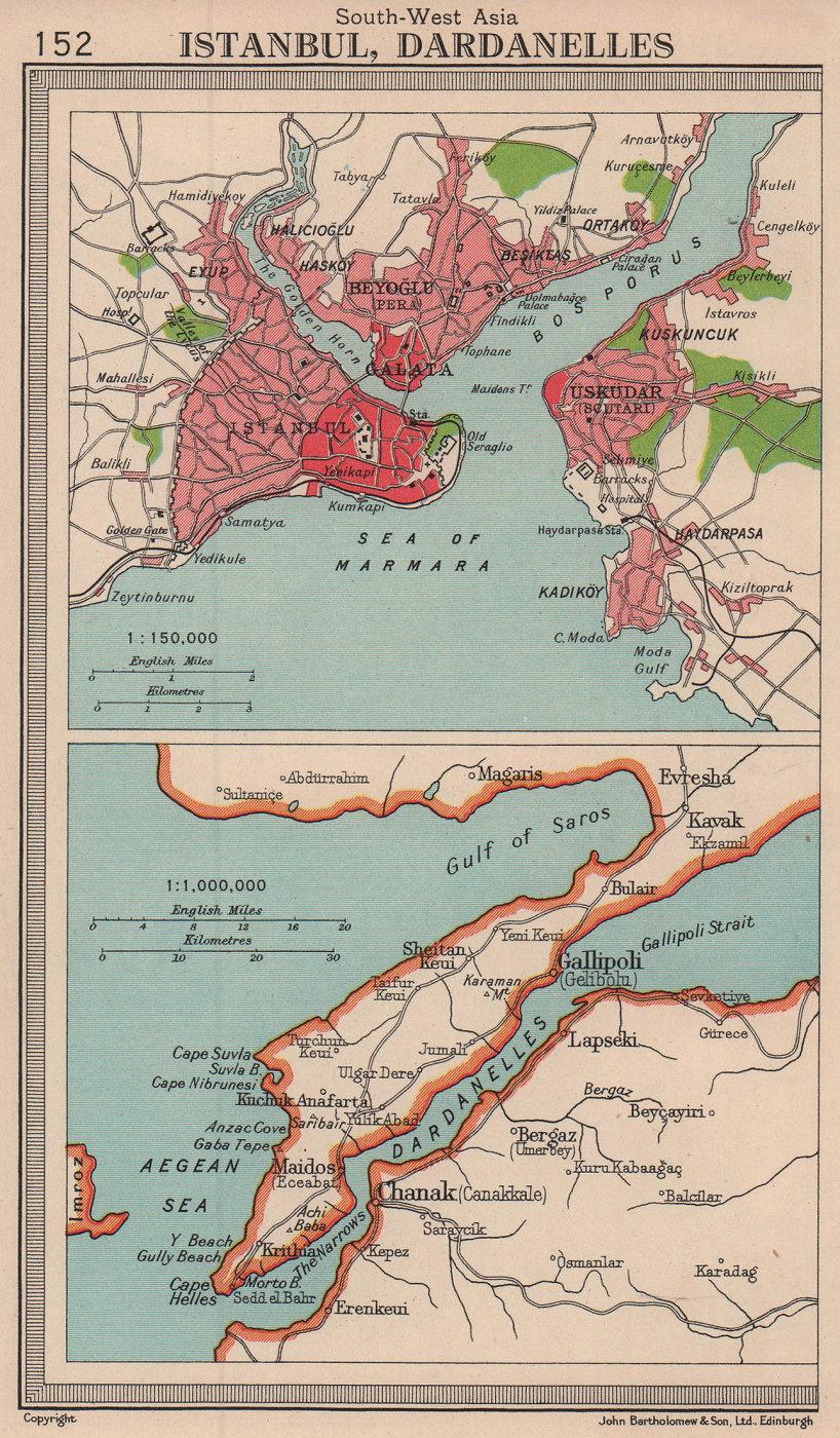 Istanbul city sketch plan & Dardanelles. Turkey. BARTHOLOMEW 1949 old map