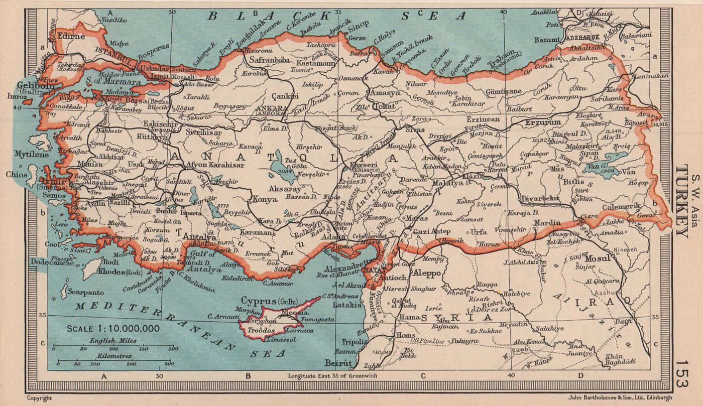 Turkey. Anatolia. Asia Minor. BARTHOLOMEW 1949 old vintage map plan chart