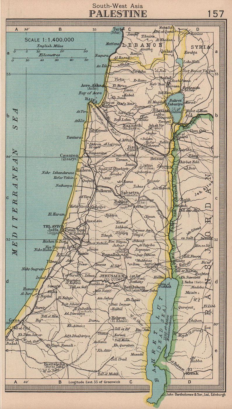 Palestine. Israel Transjordan. BARTHOLOMEW 1949 old vintage map plan chart
