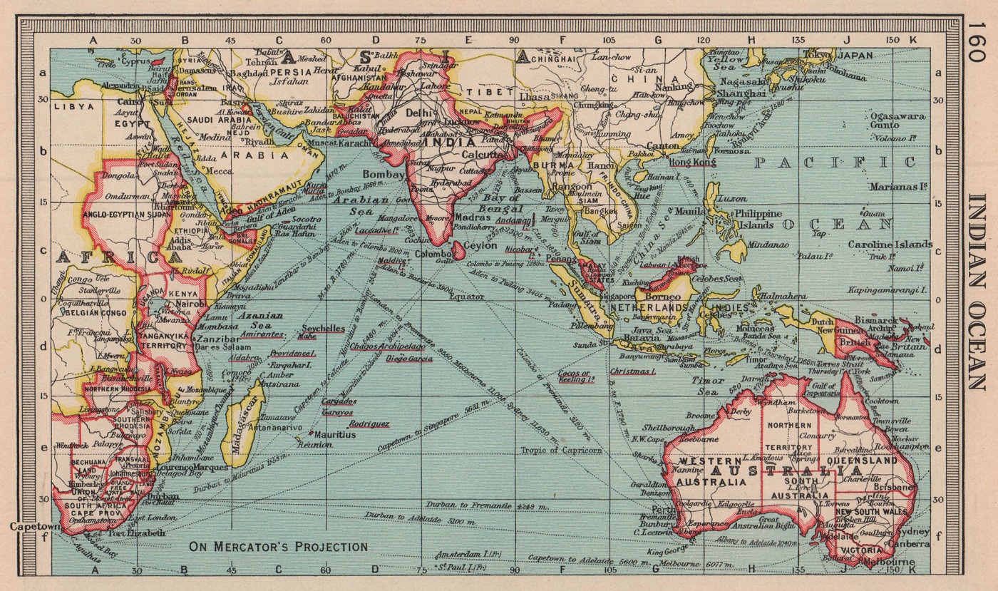 Indian Ocean. Trade routes. British Colonies. BARTHOLOMEW 1949 old vintage map