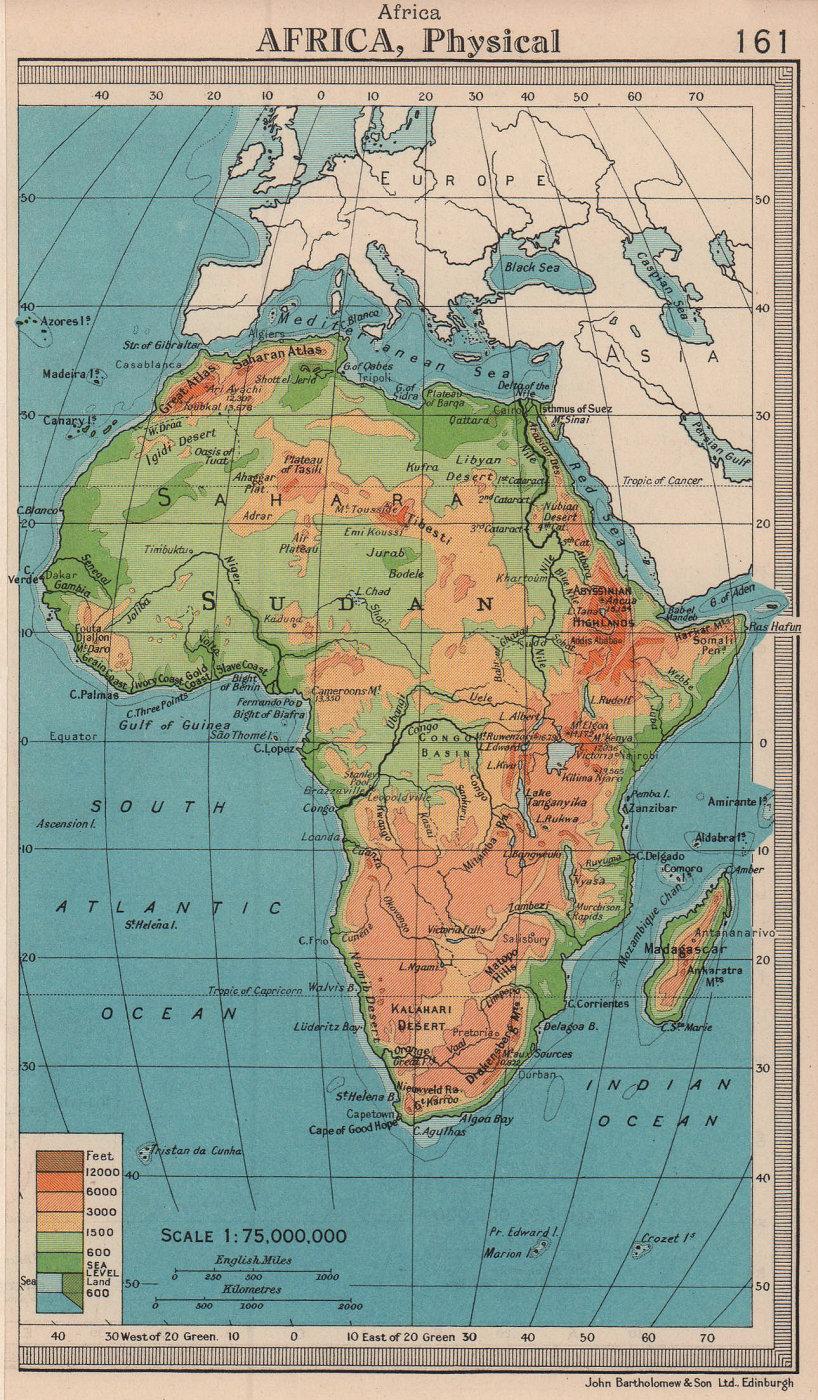 Africa Physical. BARTHOLOMEW 1949 old vintage map plan chart