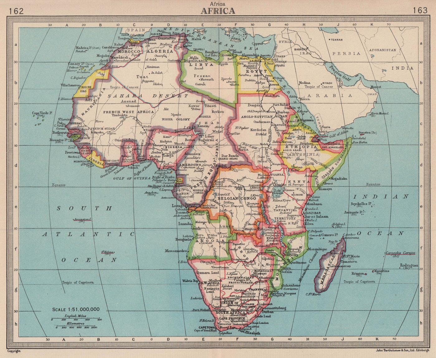 Africa. French West/Equatorial Africa. Belgian Congo. BARTHOLOMEW 1949 old map
