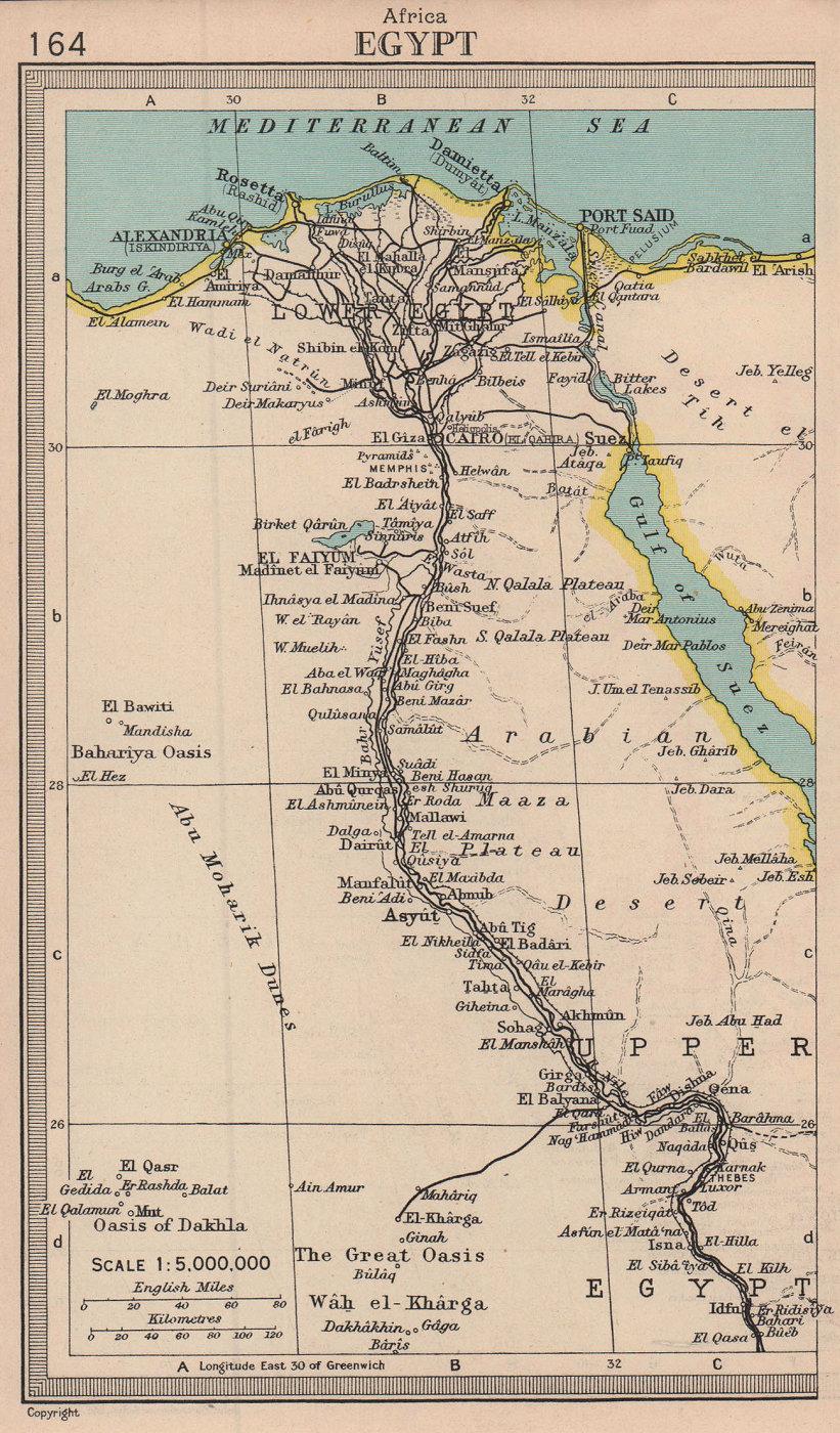 Egypt. Nile Valley. BARTHOLOMEW 1949 old vintage map plan chart