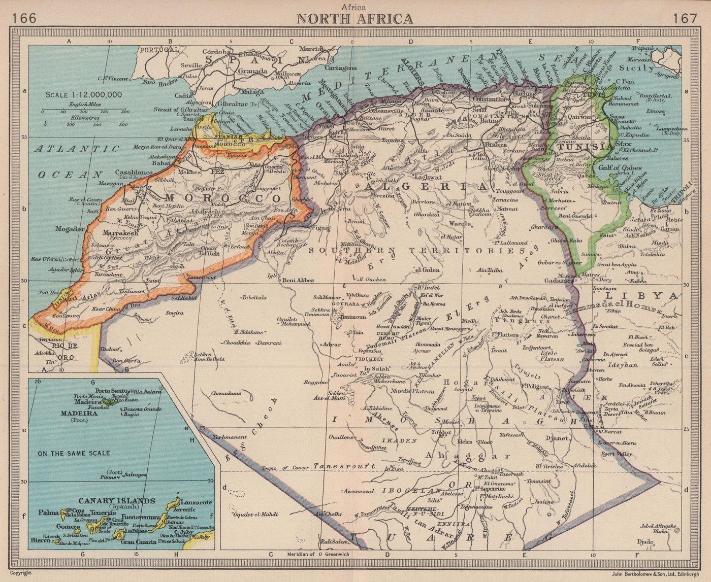 Spanish Morocco Ifni Algeria Tunisia Canary Islands Madeira BARTHOLOMEW 1949 map