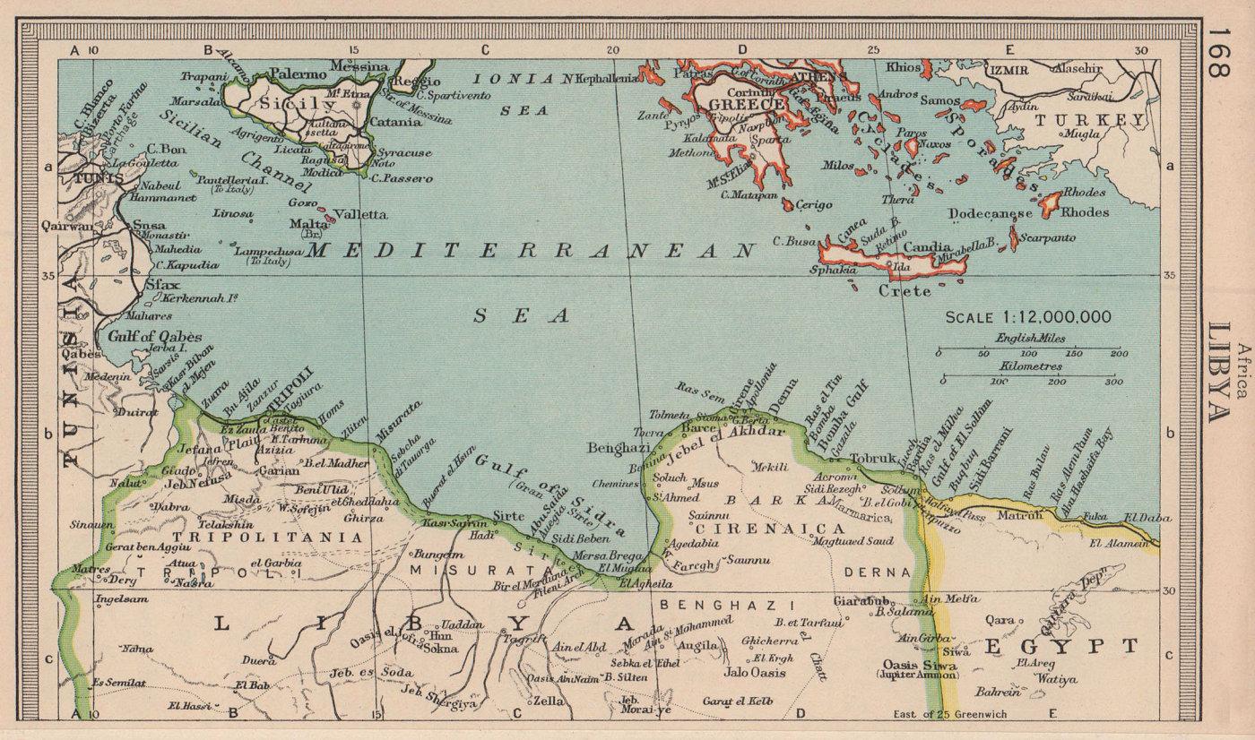 Libya coast & central Mediterranean. BARTHOLOMEW 1949 old vintage map chart