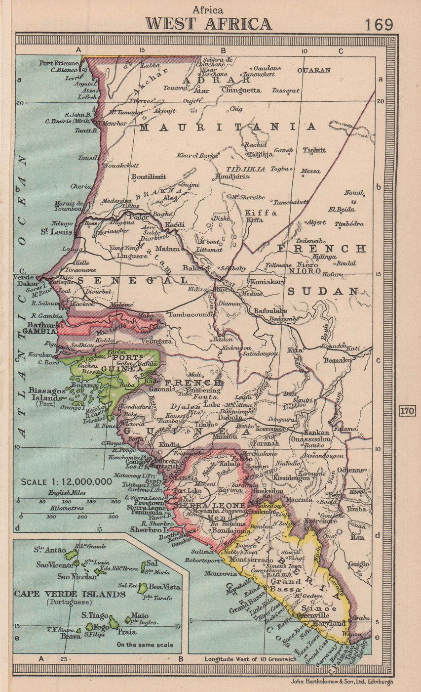 West Africa. French Sudan Liberia Portuguese Guinea. BARTHOLOMEW 1949 old map