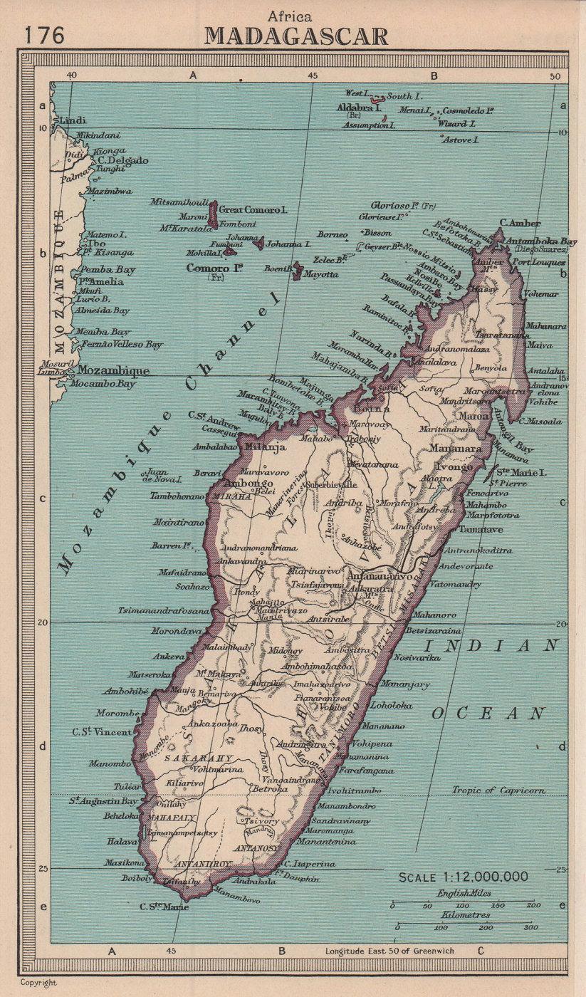 Madagascar. BARTHOLOMEW 1949 old vintage map plan chart