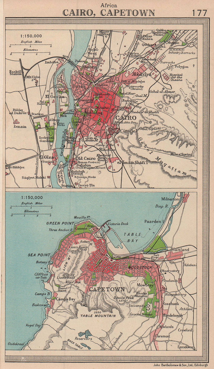African cities. Cairo & Cape Town. Egypt South Africa. BARTHOLOMEW 1949 map