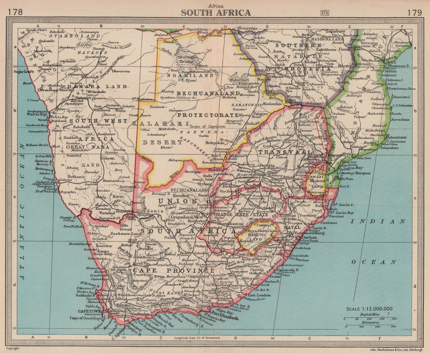 South Africa & Bechuanaland Protectorate. Botswana. BARTHOLOMEW 1949 old map
