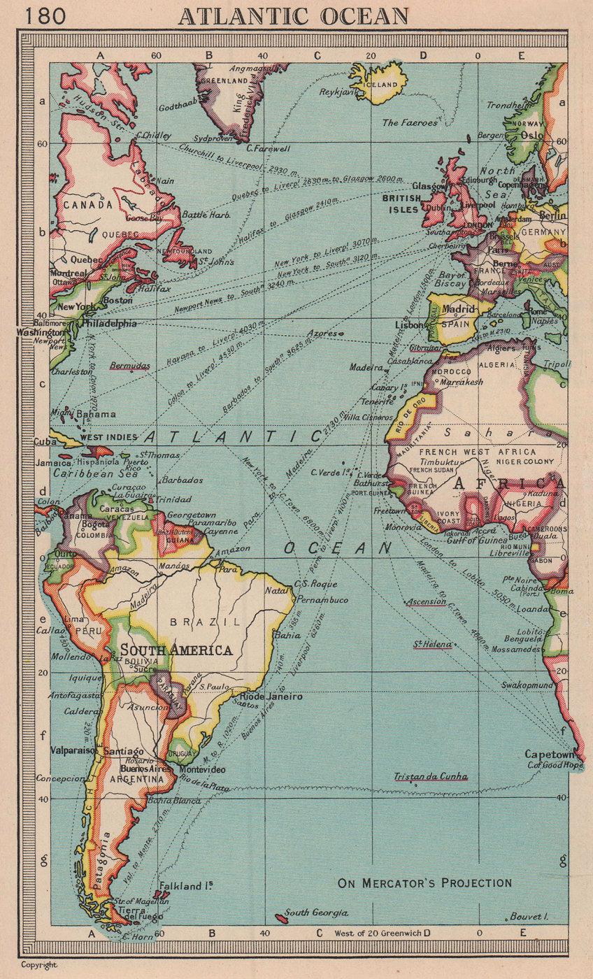 Atlantic Ocean trade routes. BARTHOLOMEW 1949 old vintage map plan chart