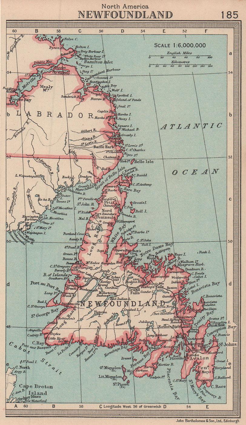 Newfoundland. Canada. BARTHOLOMEW 1949 old vintage map plan chart