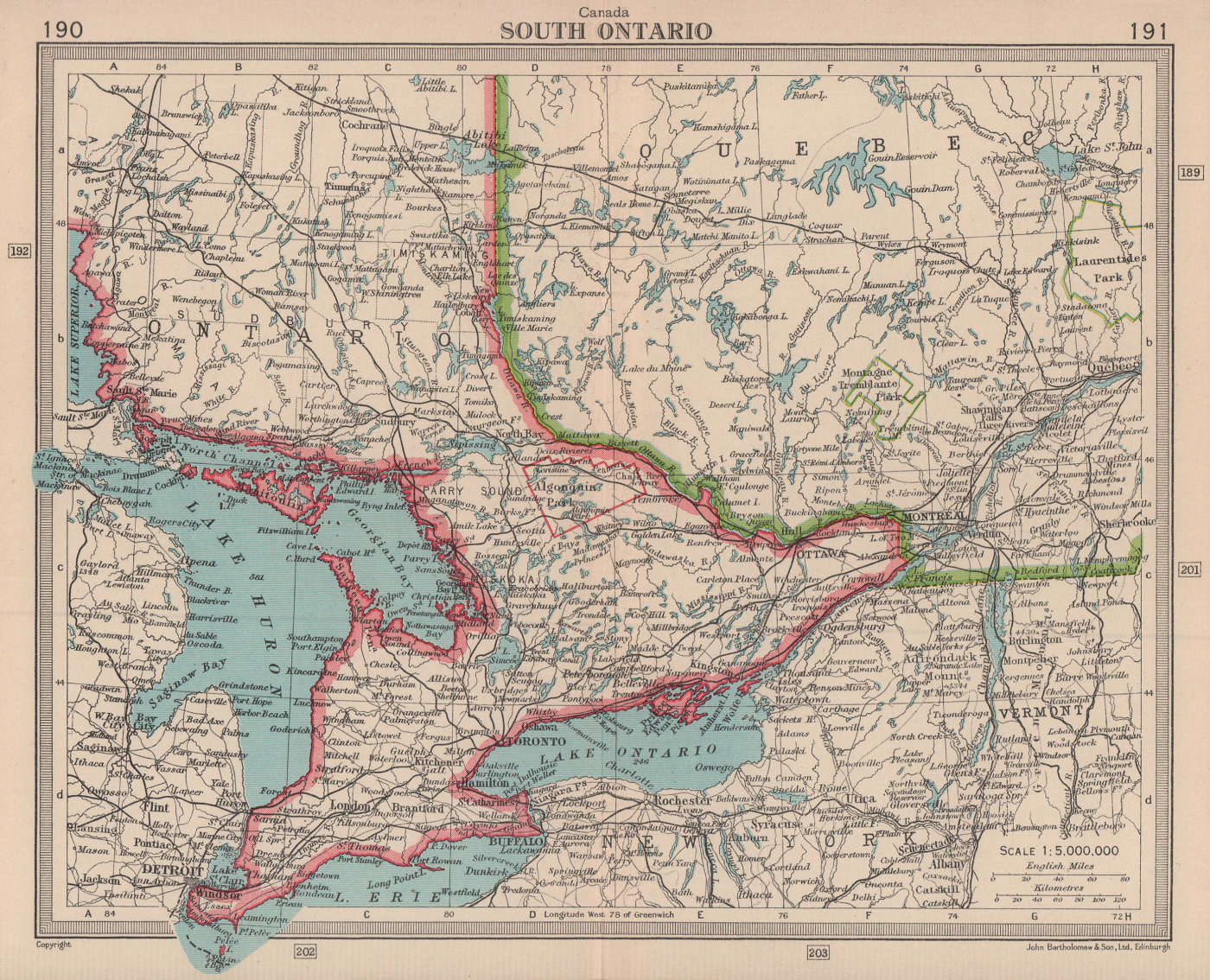 Canada South Ontario. BARTHOLOMEW 1949 old vintage map plan chart