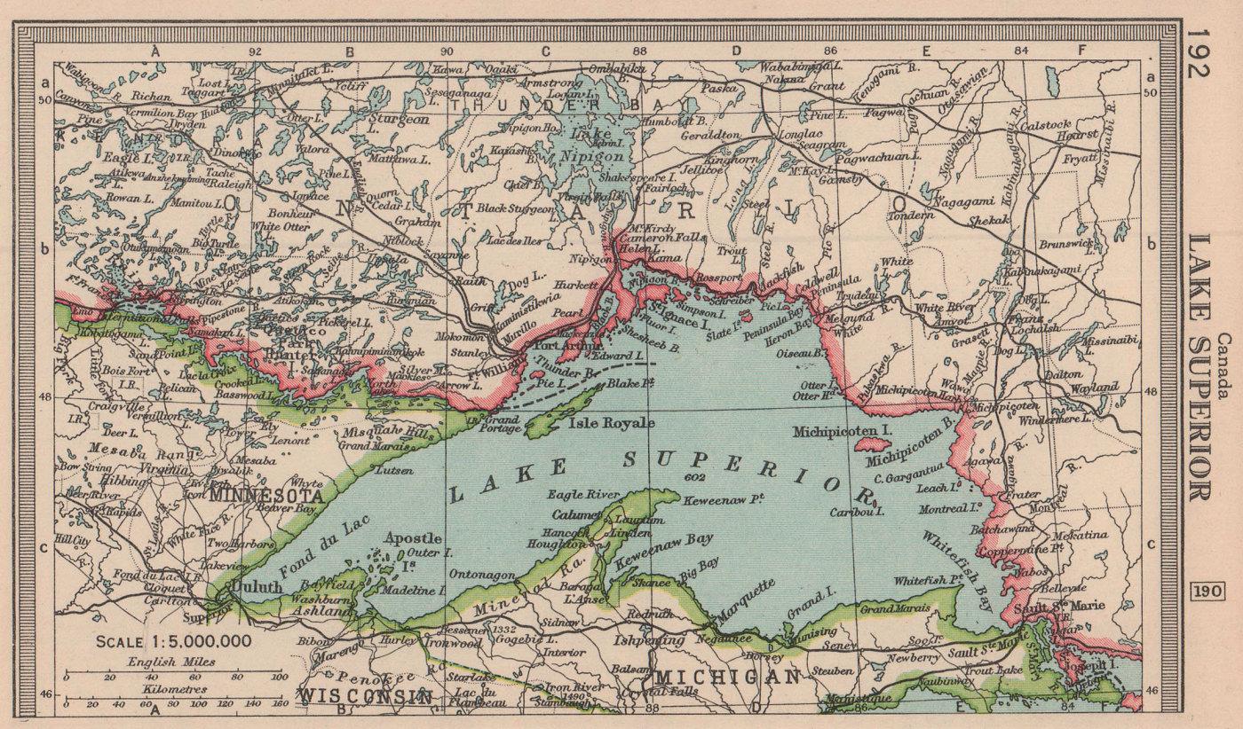 Lake Superior. BARTHOLOMEW 1949 old vintage map plan chart