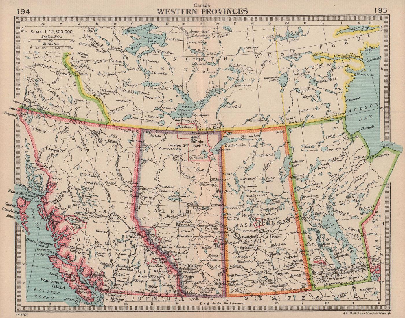 Canada Western Provinces. British Columbia Alberta SK MB. BARTHOLOMEW 1949 map