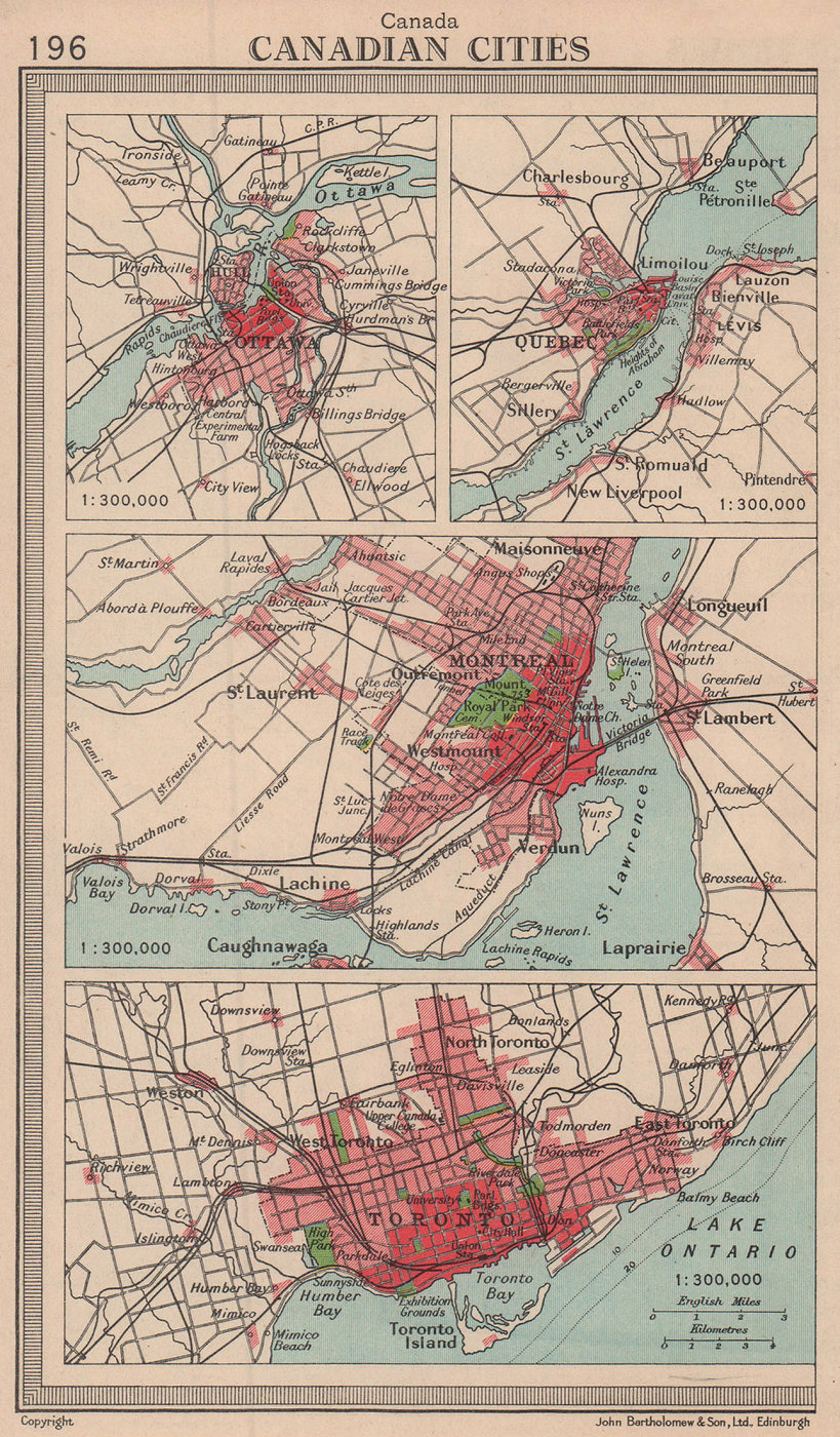 Canadian Cities. Ottawa Quebec Montreal Toronto. Canada. BARTHOLOMEW 1949 map