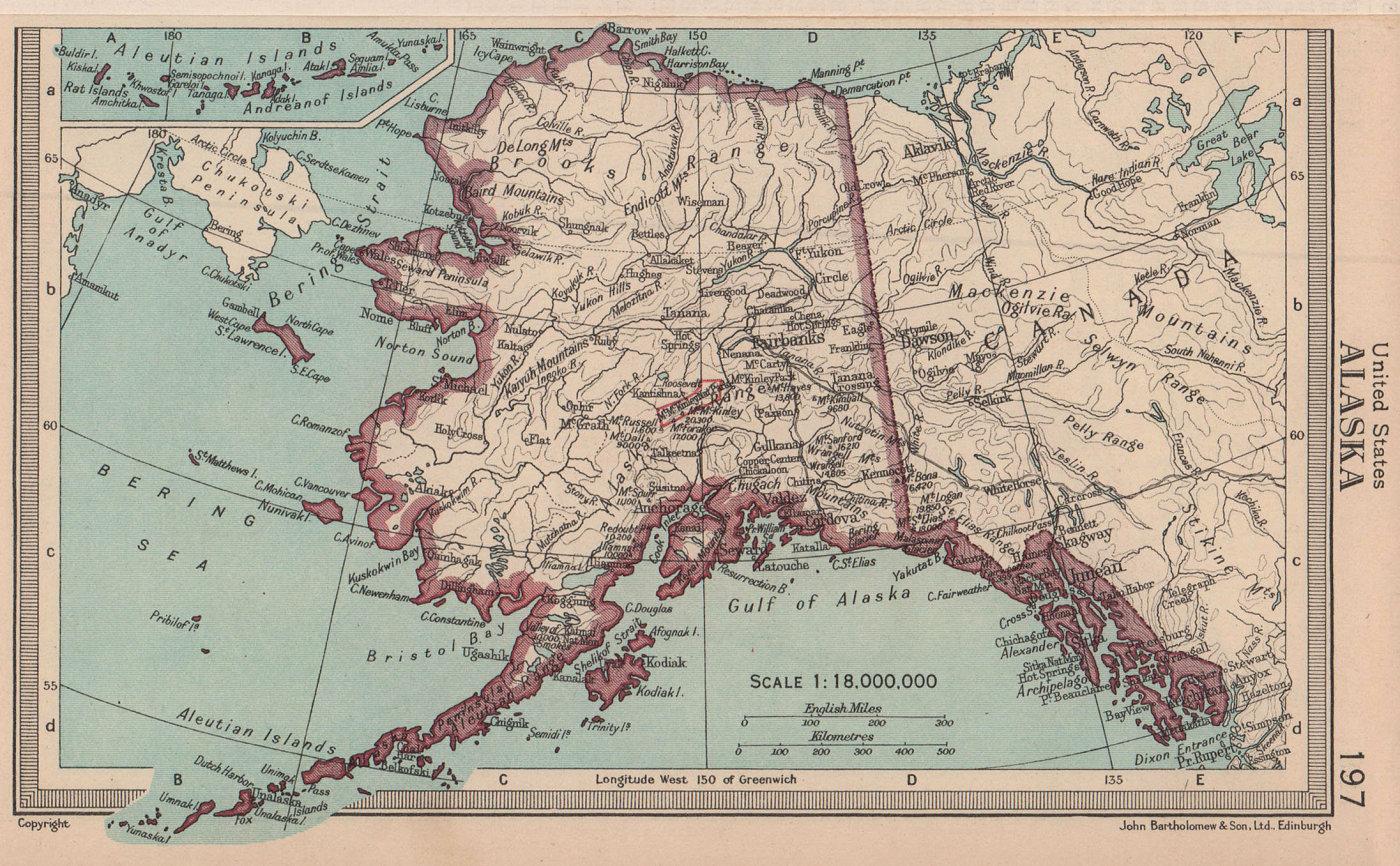 Alaska state map. BARTHOLOMEW 1949 old vintage plan chart
