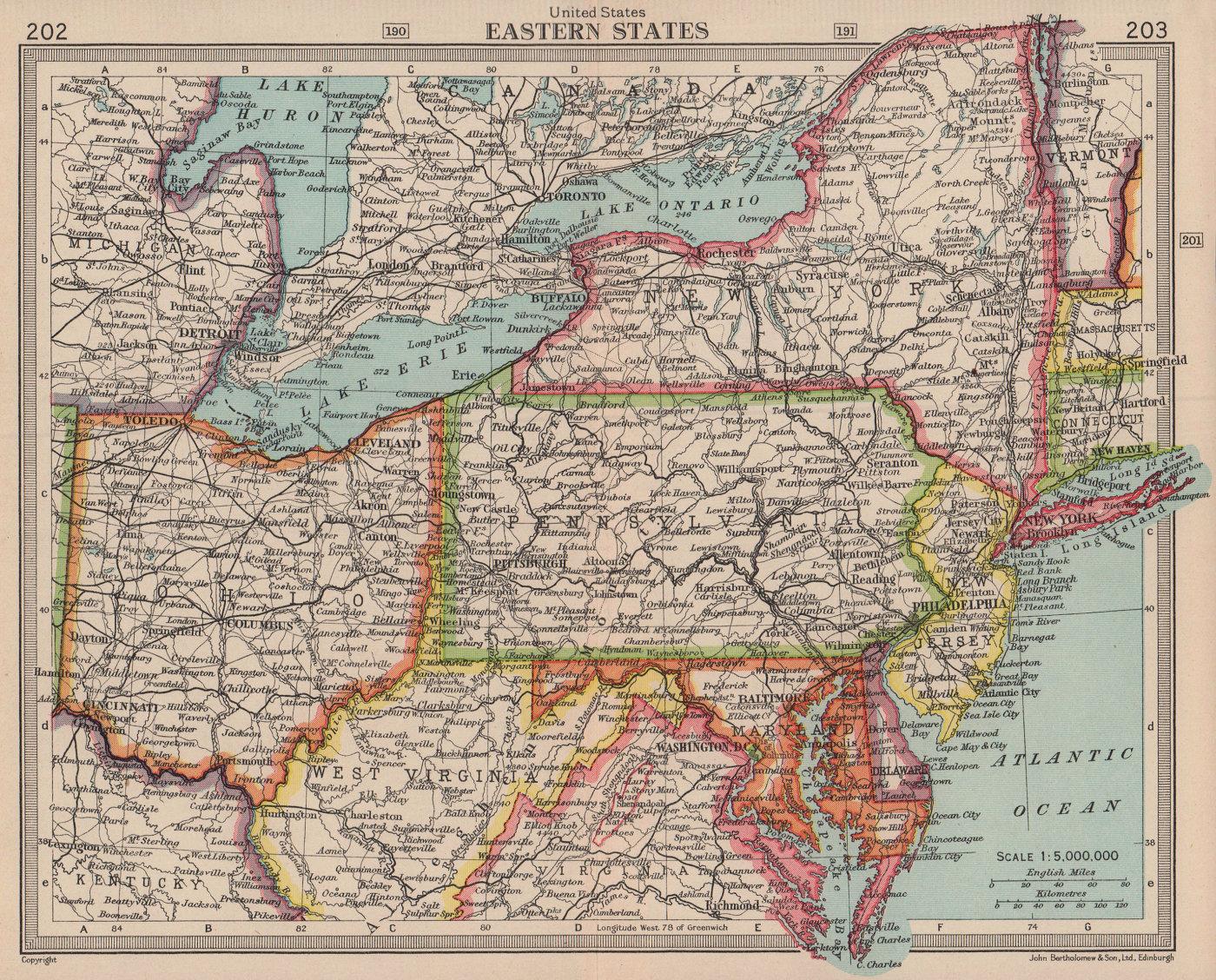 Eastern United States. USA. Ohio NY WV MD Pennsylvania. BARTHOLOMEW 1949 map