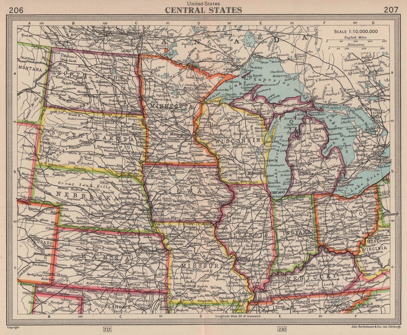 United States Central states. Midwestern USA. BARTHOLOMEW 1949 old vintage map