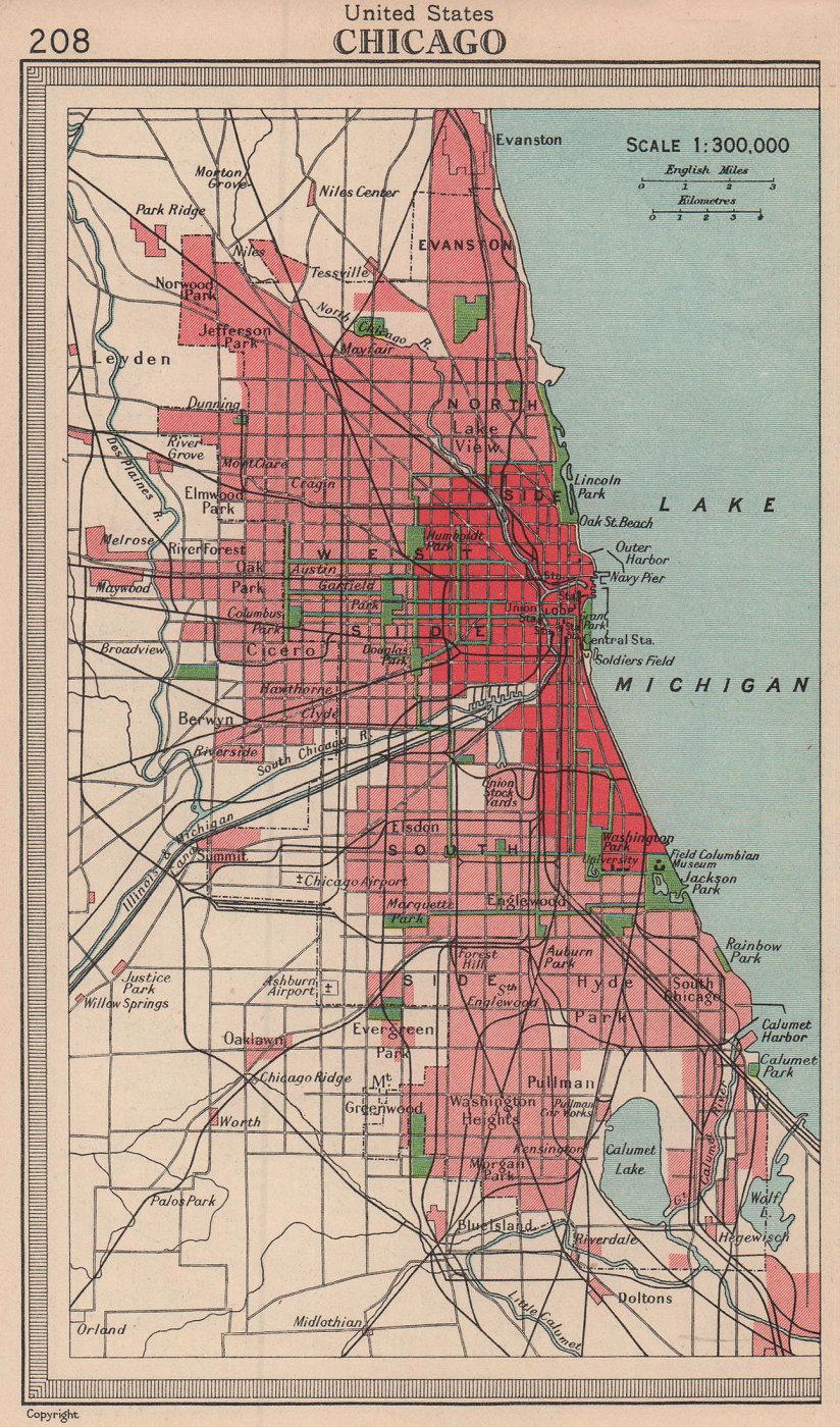 Chicago city sketch plan. Illinois. BARTHOLOMEW 1949 old vintage map chart
