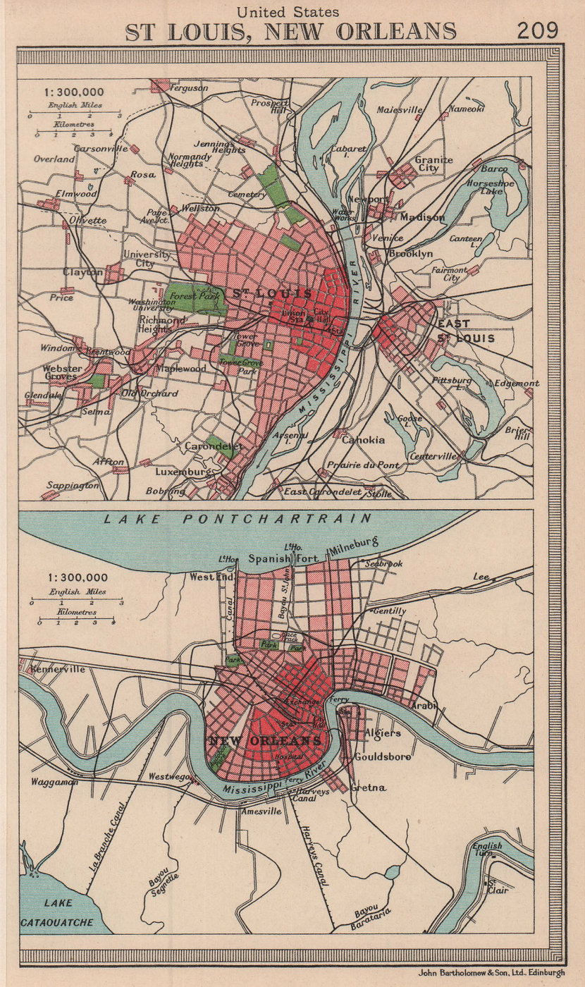Mississippi cities. St. Louis & New Orleans. BARTHOLOMEW 1949 old vintage map