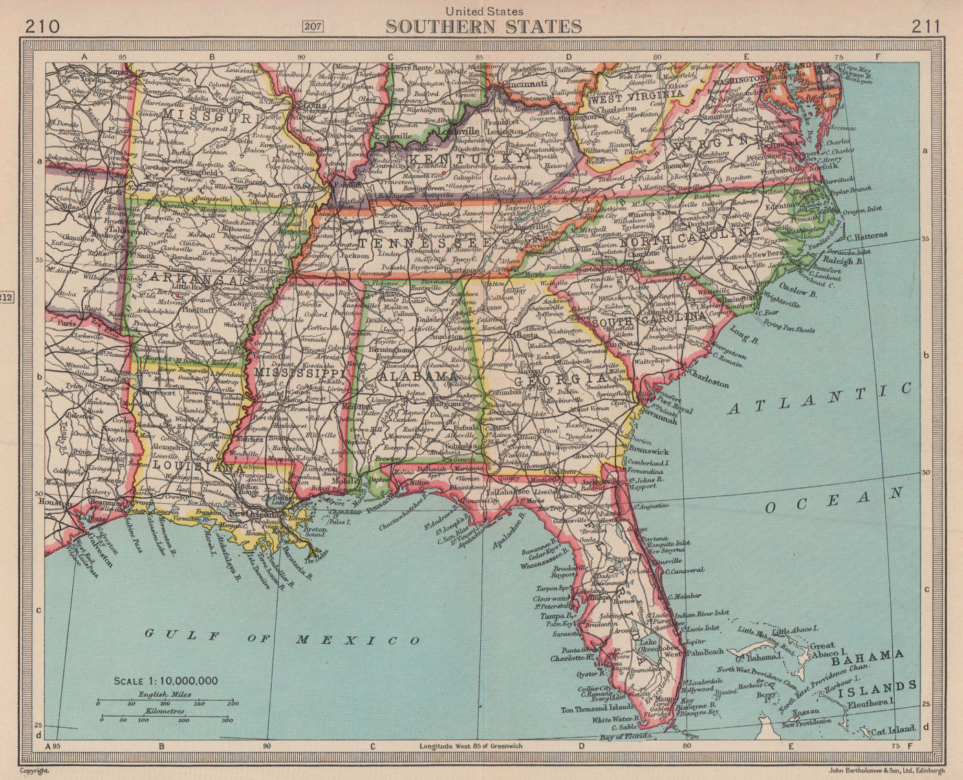 United States Southern States. Southeastern USA. BARTHOLOMEW 1949 old map