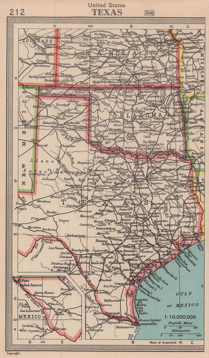Texas & Oklahoma state maps. BARTHOLOMEW 1949 old vintage plan chart
