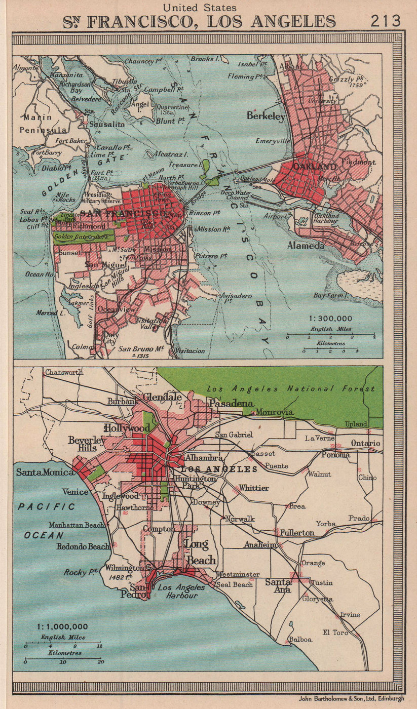 California cities. San Francisco & Los Angeles. BARTHOLOMEW 1949 old map