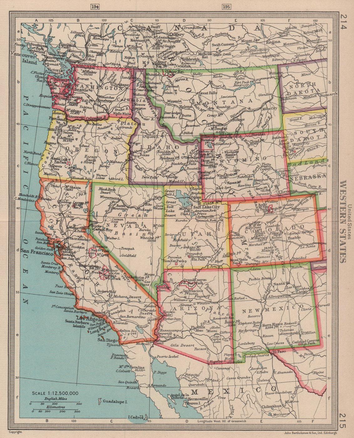 United States Western States. Western USA. BARTHOLOMEW 1949 old vintage map