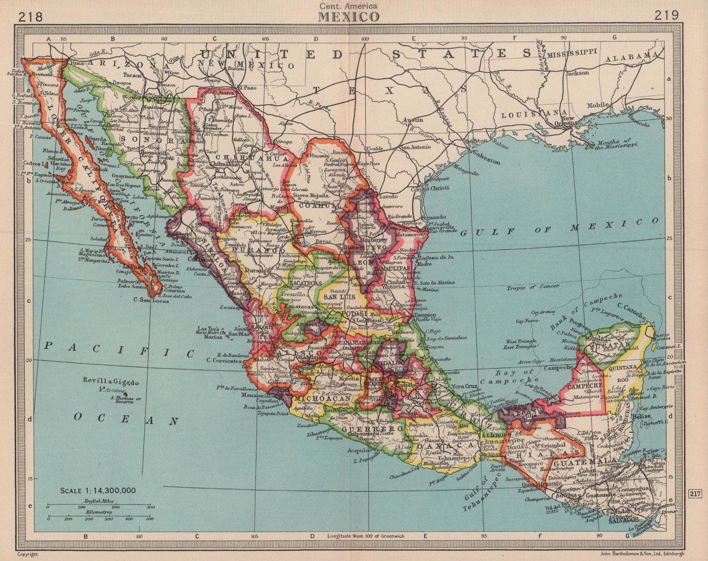 Mexico. BARTHOLOMEW 1949 old vintage map plan chart