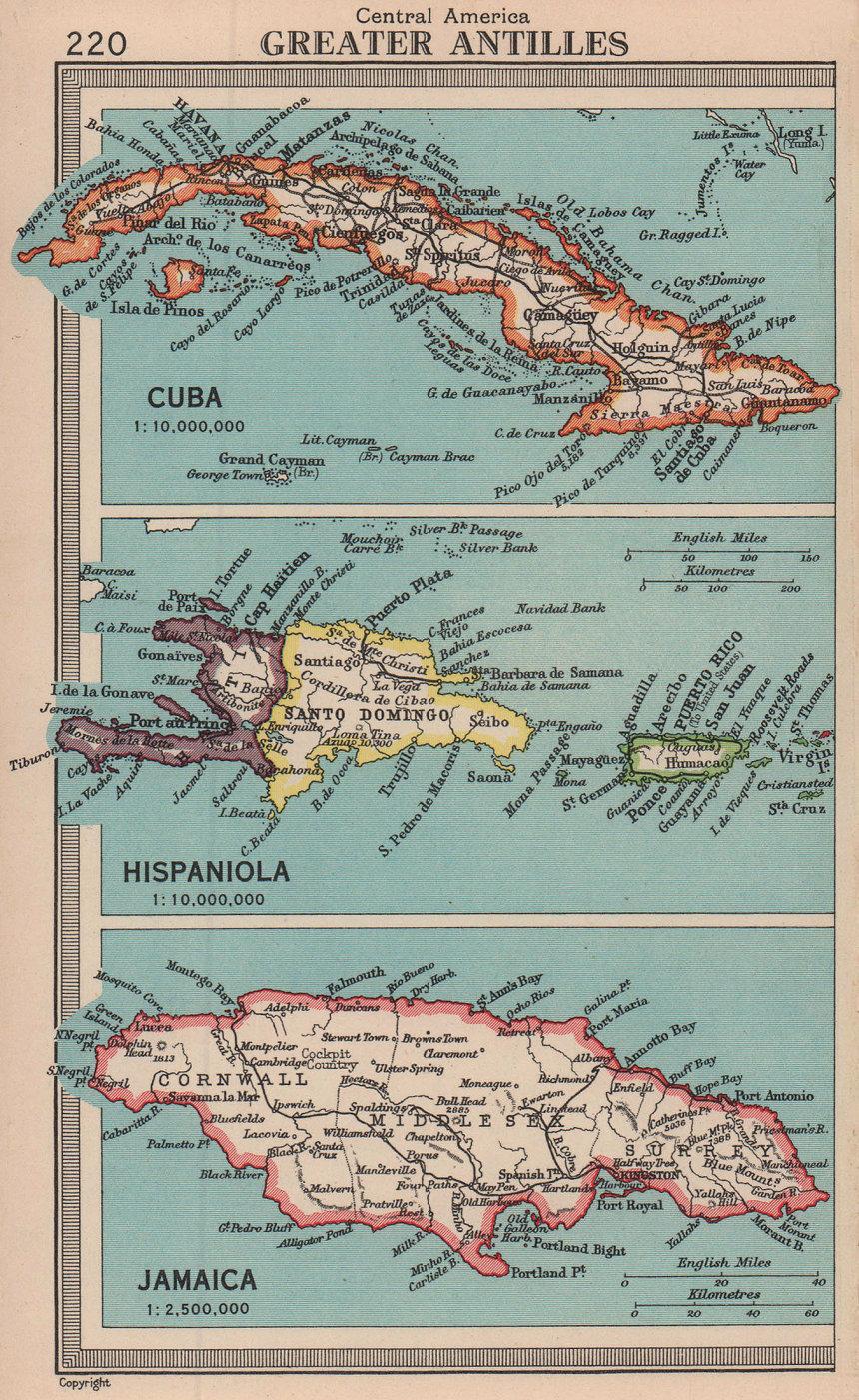 Greater Antilles. Jamaica Cuba Hispaniola. West Indies. BARTHOLOMEW 1949 map