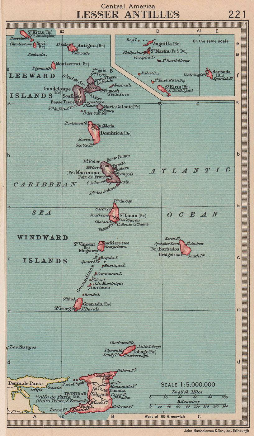 Lesser Antilles. Windward & Leeward Islands. West Indies. BARTHOLOMEW 1949 map