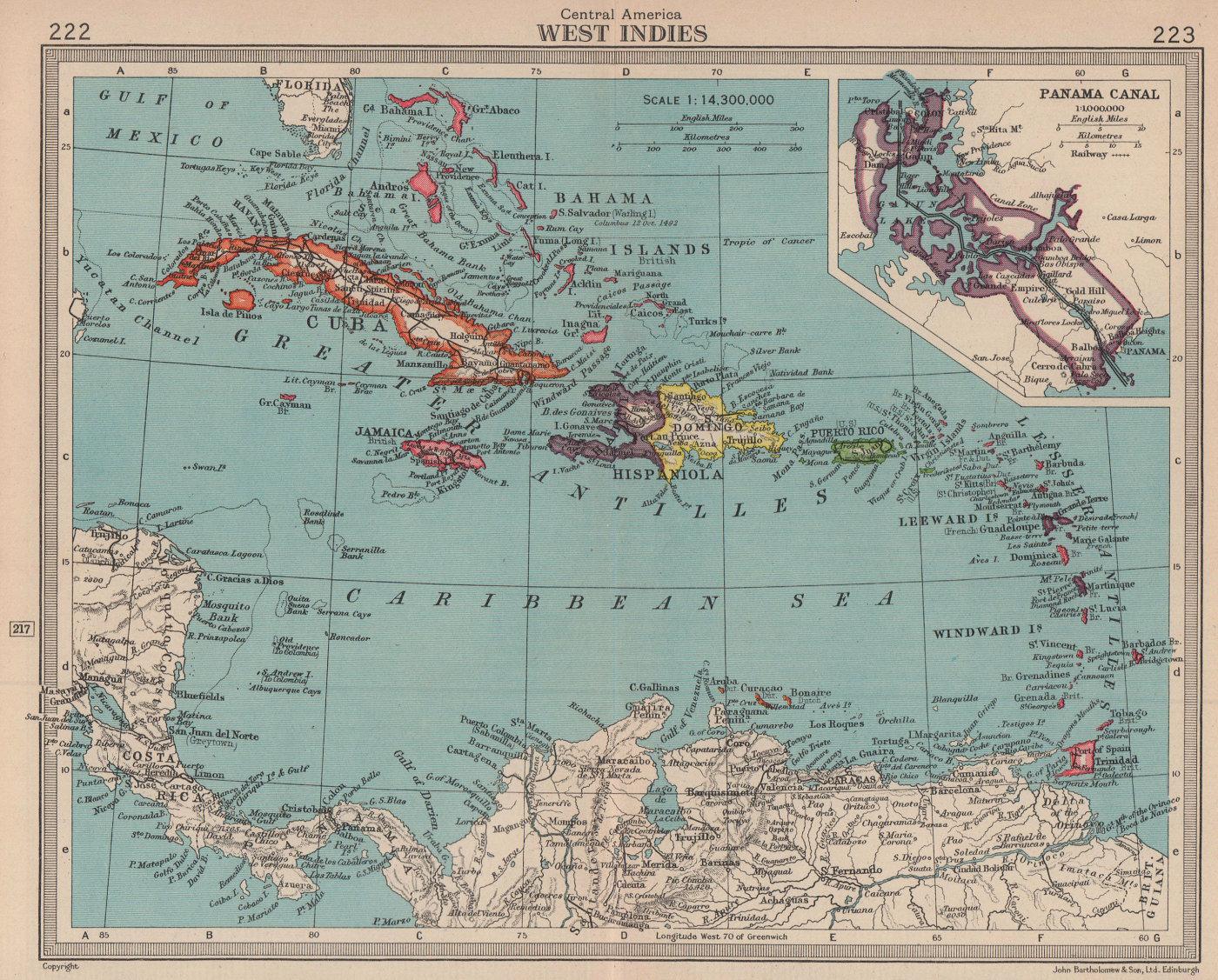 West Indies & Panama Canal. BARTHOLOMEW 1949 old vintage map plan chart