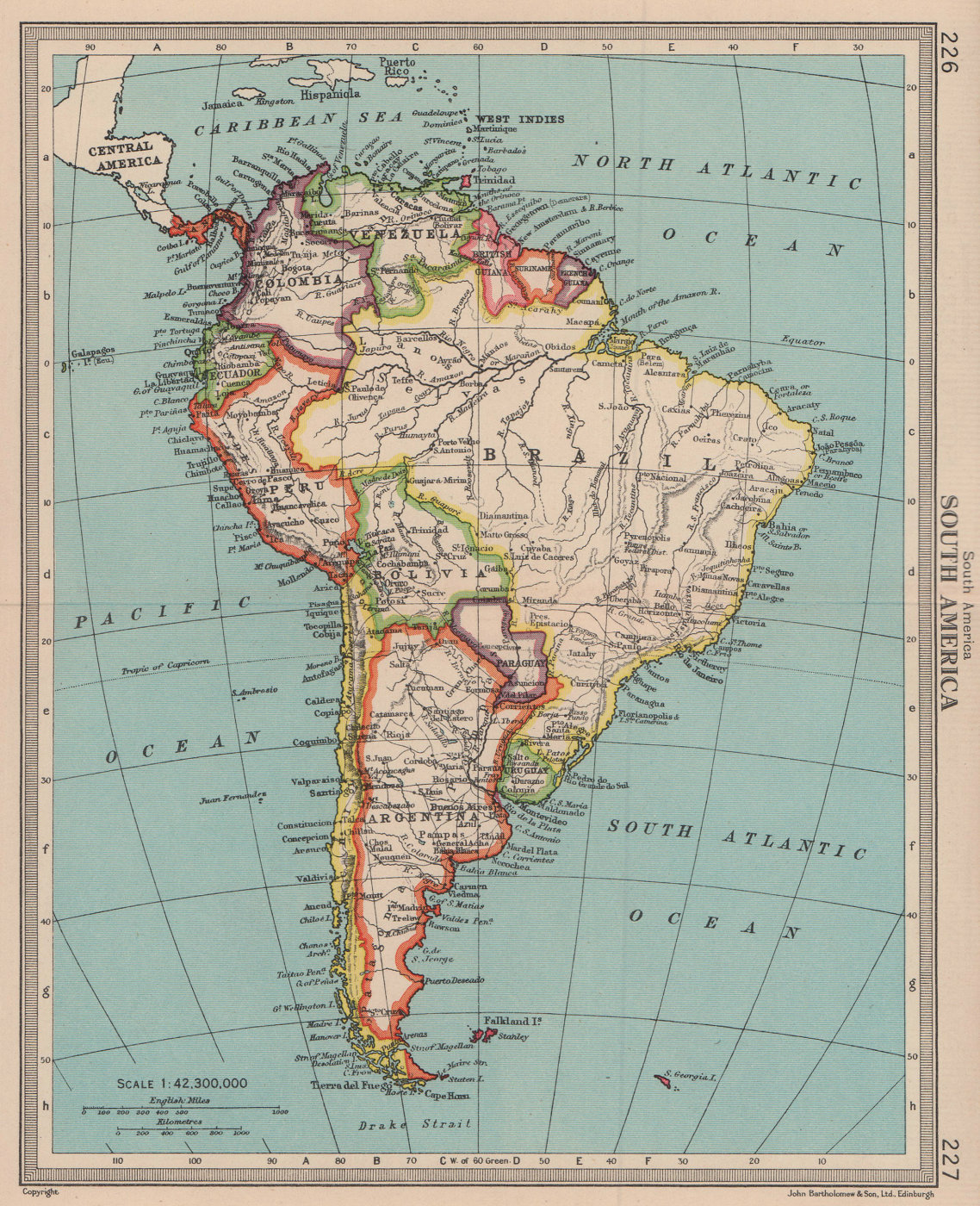 South America - Political. BARTHOLOMEW 1949 old vintage map plan chart