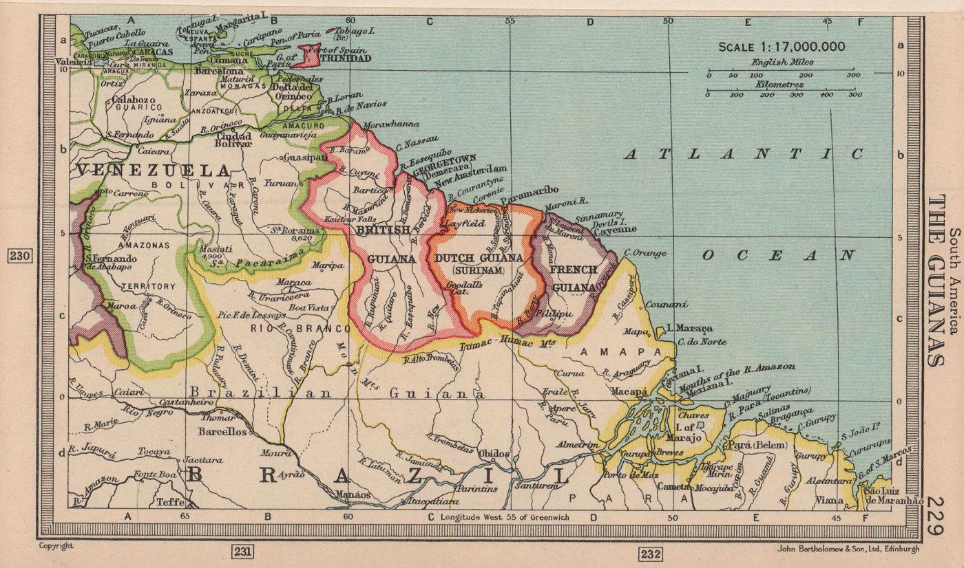 The Guianas. British, French Guyana & Suriname. BARTHOLOMEW 1949 old map