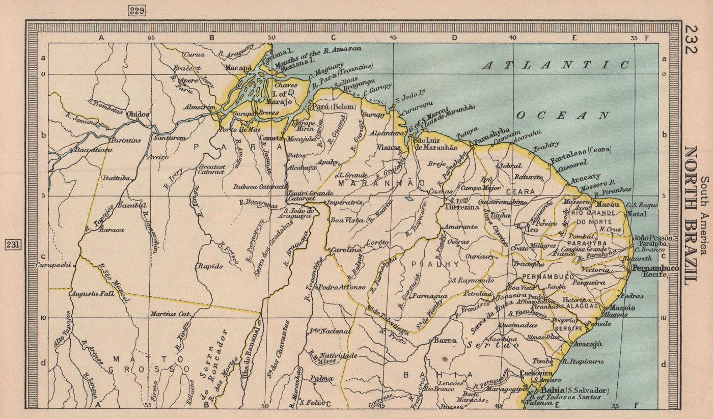 Northern Brazil. BARTHOLOMEW 1949 old vintage map plan chart