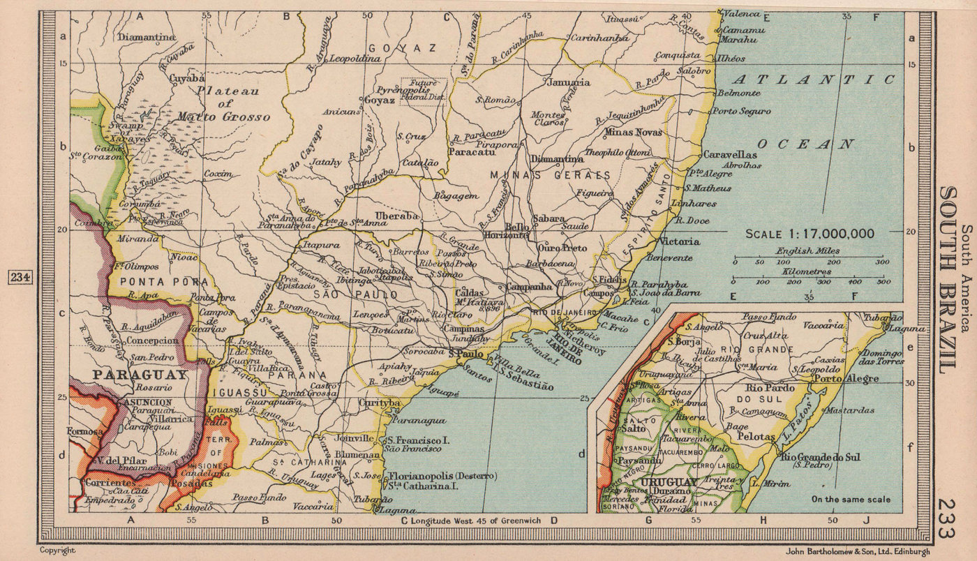 Southern Brazil. BARTHOLOMEW 1949 old vintage map plan chart