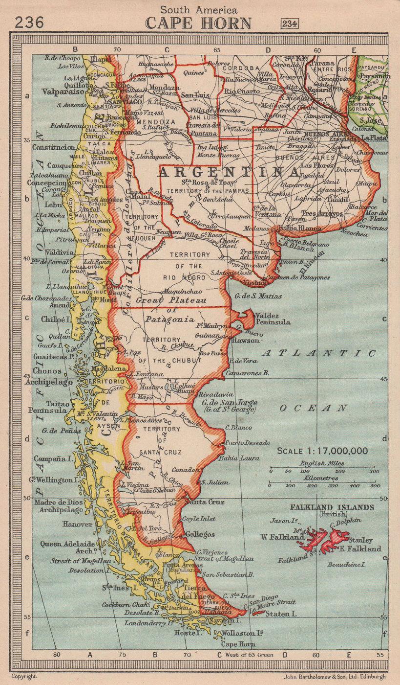 Cape Horn. Argentina & Chile. Patagonia. BARTHOLOMEW 1949 old vintage map