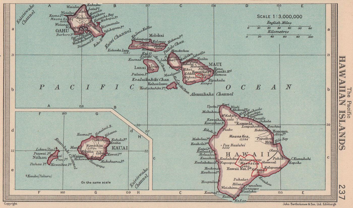 Hawaiian Islands. Maui Oahu Kauai. BARTHOLOMEW 1949 old vintage map plan chart