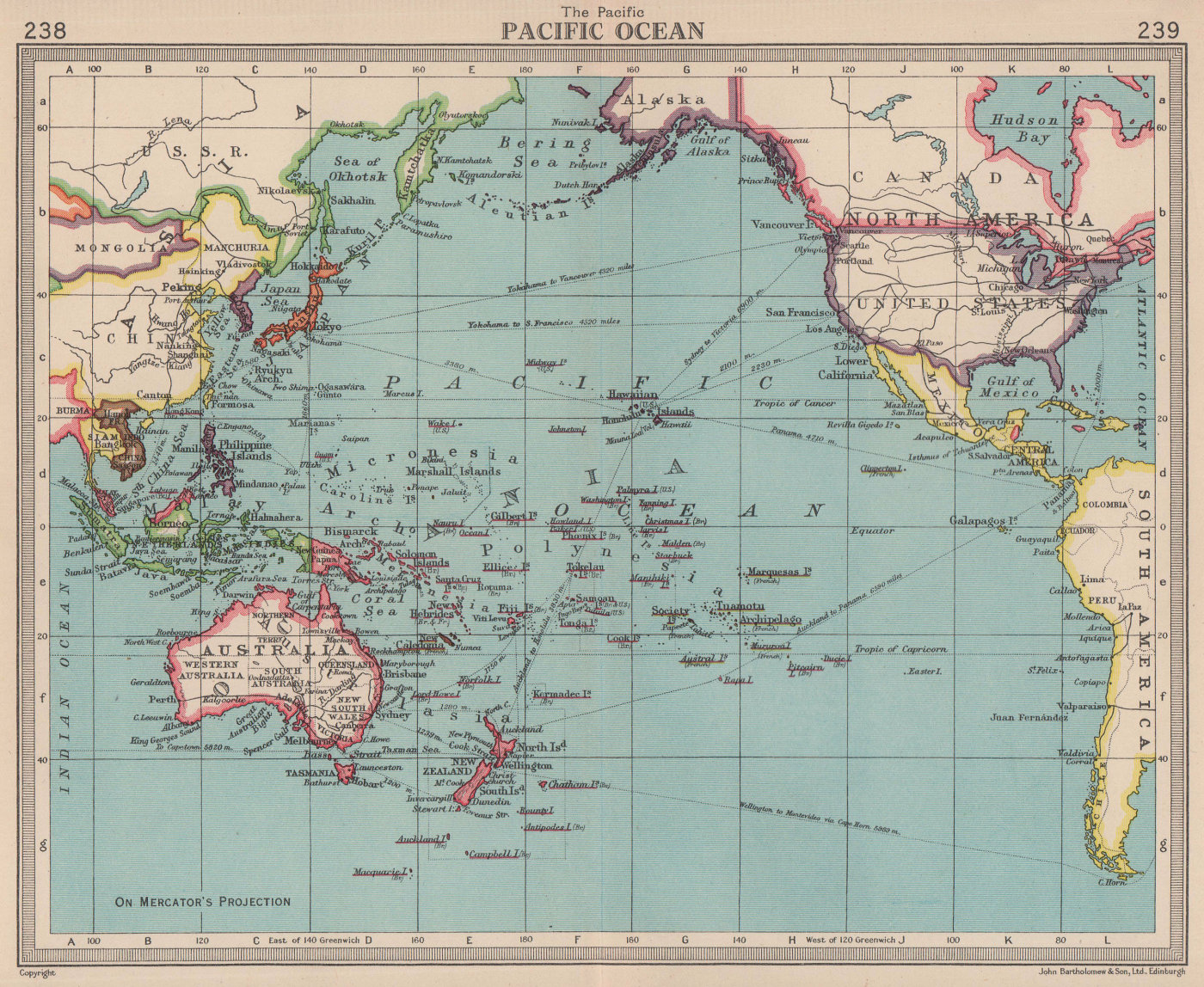 Pacific Ocean. BARTHOLOMEW 1949 old vintage map plan chart