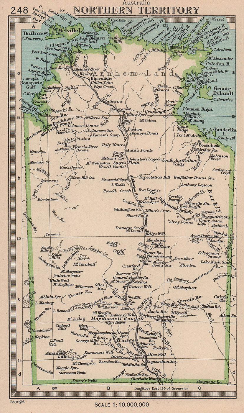 Northern Territory, Australia. BARTHOLOMEW 1949 old vintage map plan chart