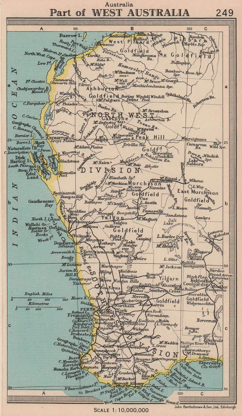 Part of Western Australia. BARTHOLOMEW 1949 old vintage map plan chart