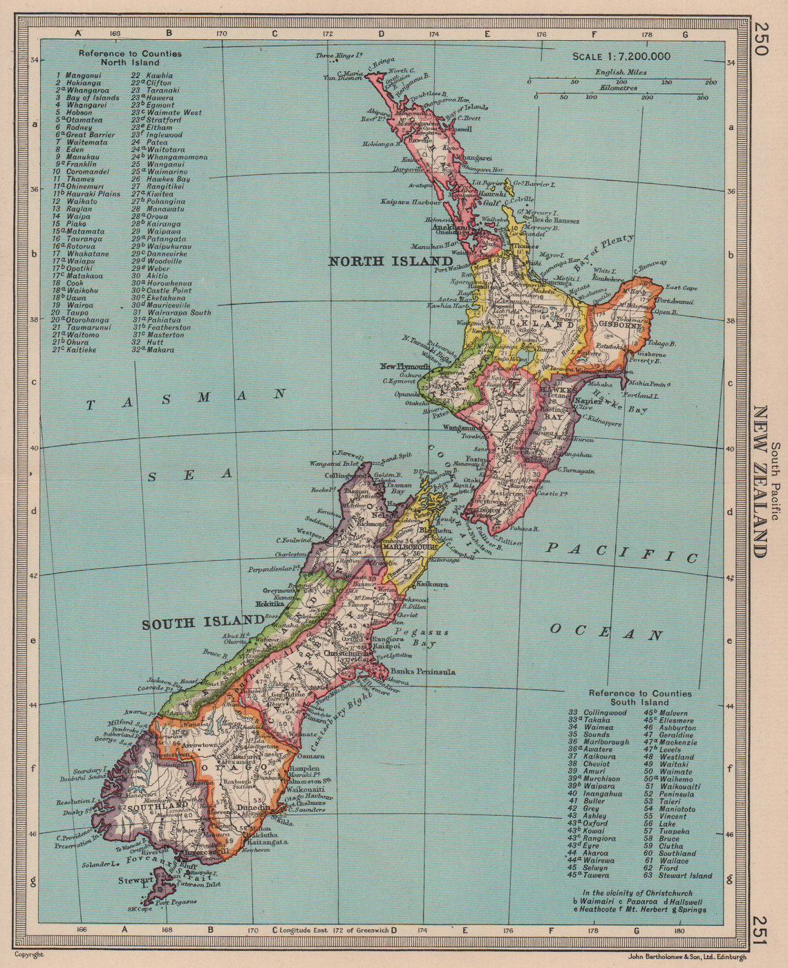 New Zealand in counties/provinces. BARTHOLOMEW 1949 old vintage map plan chart